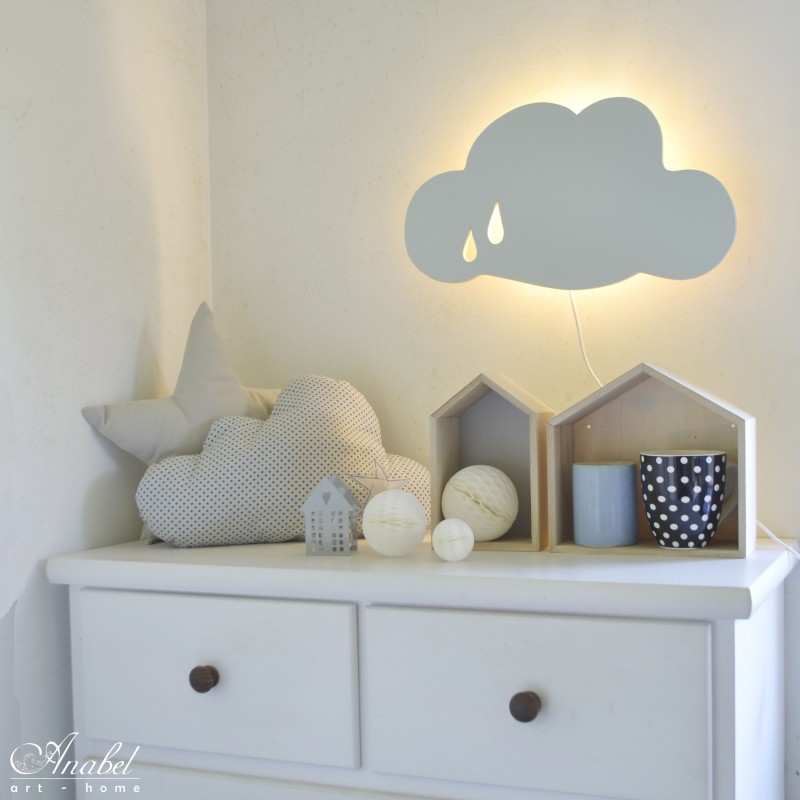 Nube l mpara infantil de pared applique murale nuage for Lamparas pared infantiles